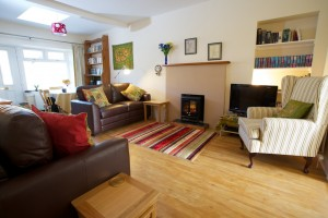 Photo of living room showing sofas with cushions, bookshelves and fireplace
