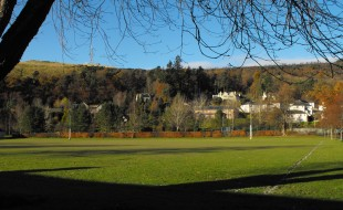 View from living room of Cosaig self catering Innerleithen Scottish Borders across the playing field