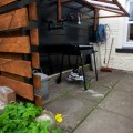 Image showing Bike Repair shelter with wall mounted repair stand and barbecue. A secure shed is also available for storing bikes. Hose and tap for bike cleaning.